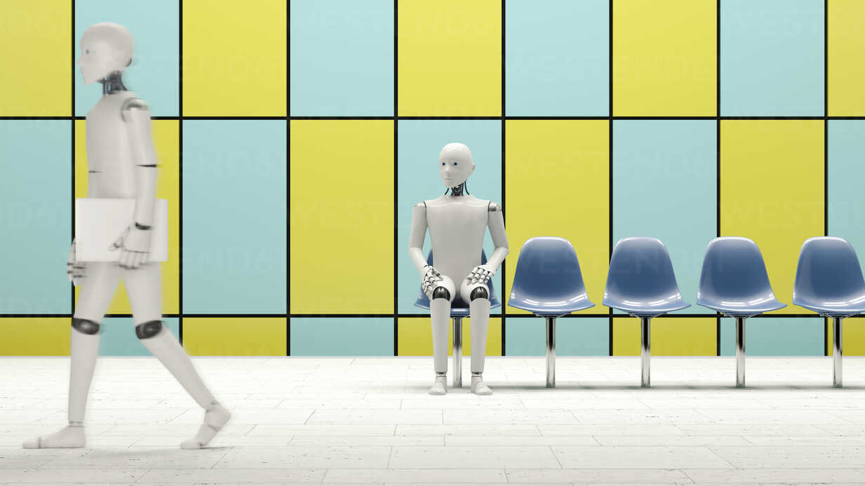 Robot sitting on chair in underground station, one walking with laptop - AHUF000229 - Anna Huber/Westend61