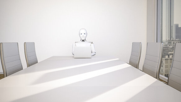 Robot in office, using laptop, 3D Rendering - AHUF000232