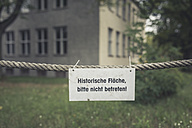 Germany, Elstal, sign at rope at site of Olympic village - ASCF000638