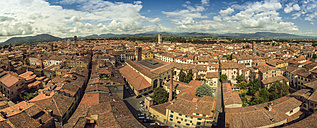 Italy, Lucca, panorama view of the city from Torre Guinigi - OP000119
