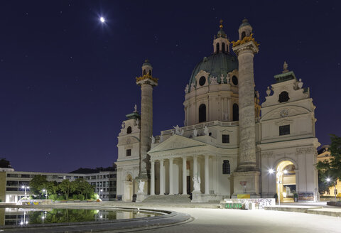 Austria, Vienna, view to St Charles Borromeo by night - GF000760