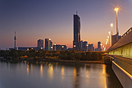Austria, Vienna, view to Donau City  with DC Tower at twilight - GFF000772