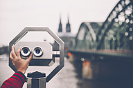 Germany, Cologne, coin operated binoculars in front of Rhine - RTBF000287