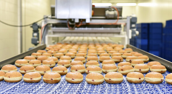 Production line in a baking factory with Berliners - LYF000538