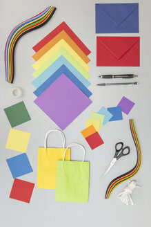 Tools and colourful paper for craft projects - MELF000145