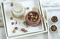 Glass bottle of homemade hazelnut milk - ASF006012