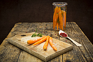 Glass of fermenting carrots with red peppercorns and dill - LVF005244