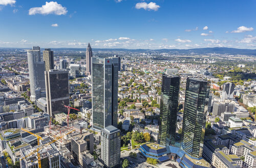 Germany, Frankfurt, view to the city with financial district from Maintower - MAB000393