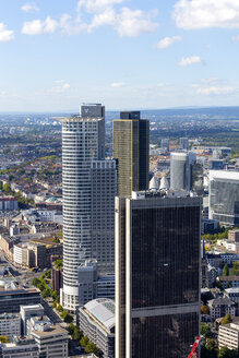 Germany, Frankfurt, view to high-rise buildings at financial district from Maintower - MAB000396