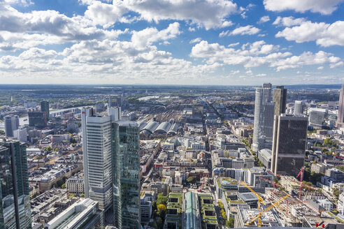 Germany, Frankfurt, view to the city with financial district from Maintower - MAB000399