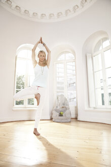 Woman holding a Vrksasana yoga pose in sunny studio - MFF003305