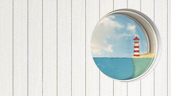 Porthole in wooden wall with lighthouse at sea shore - AHUF000235