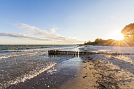 Denmark, Mon Island, Baltic Sea, beach at sunset - WDF003749