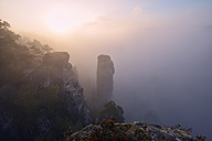 Germany, Saxony, Saxon Switzerland National Park, Bastei, Hoellenhund at Raaber Kessel in fog - RUEF001745