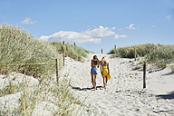 Two female friends walking through dunes leaving beach - SRYF000039