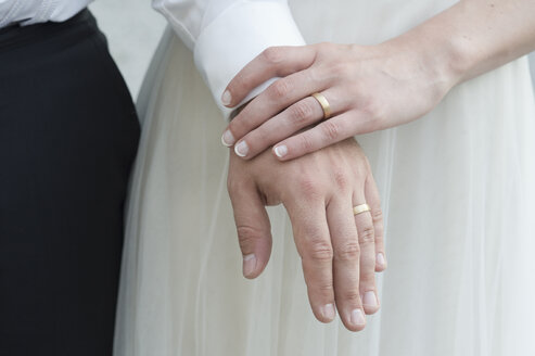 Hands of bridal couple with the wedding rings - CRF02759
