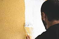 Back view of man painting wall with paint roller - GEMF01010