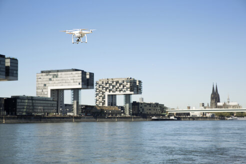Germany, Cologne, Drone flying over Rhine river - ONF01011