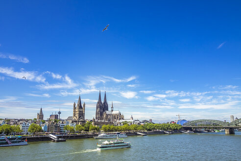 Germany, Cologne, view to the skyline with Rhine River in the foreground - KRPF01831