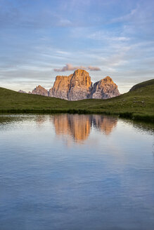 Italy, Dolomites, view to Mountain Pelmo and Lago Delle Baste in the foreground by sunset - LOMF00396