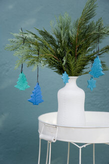 Self-made Christmas Ornaments hanging at twigs of Thuja - GISF00250
