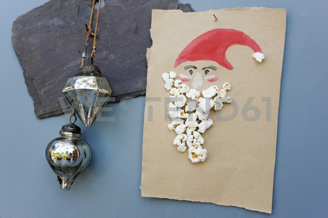 Christmas card made of water colours and popcorn - GISF00253