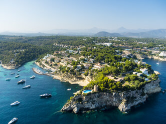 Spain, Mallorca, Palma de Mallorca, Aerial view, El Toro, Villas and yachts near Portals Vells - AMF04982
