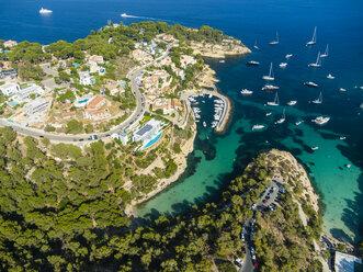 Spain, Mallorca, Palma de Mallorca, Aerial view, El Toro, Villas and yachts near Portals Vells - AMF04985