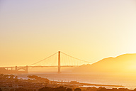 USA, California, San Francisco, Golden Gate Bridge in evening light - BRF01388