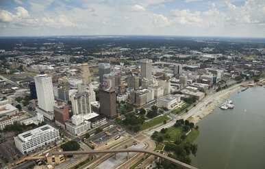 USA, Tennessee, Aerial photograph of downtown Memphis and the Mississippi River - BCDF00051