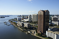 USA, Virginia, Aerial photograph of downtown Norfolk and waterfront on the Elizabeth River - BCD00066