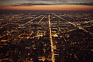 USA, Illinois, Aerial photograph of downtown Chicago in the early evening - BCDF00078