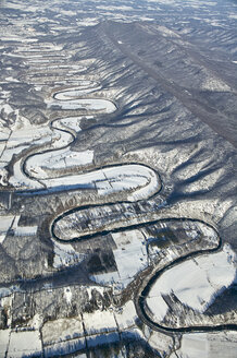 USA, Virginia, Aerial view of the North Fork of the Shenandoah River during a winter freeze - BCDF00087