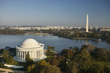 USA, Washington, D.C., Aerial photograph of the Jefferson Memorial, Tidal Basin and Washington Monument - BCDF00126