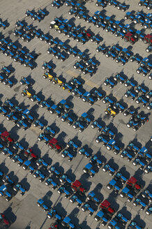 USA, Maryland, Aerial photograph of tractors lined up for shipment from the Port of Baltimore - BCD00135