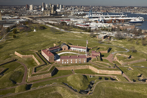 USA, Maryland, Aerial photograph of Fort McHenry in Baltimore - BCDF00138