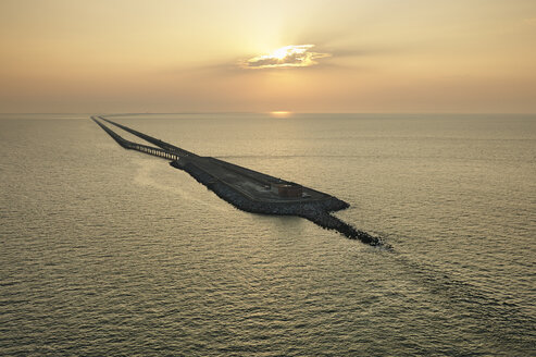 USA, Aerial photograph of the Chesapeake Bay Bridge Tunnel at sunrise - BCDF00150