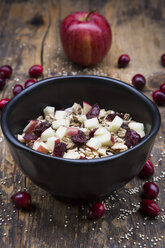 Muesli with puffed quinoa, wholemeal oatmeal, raisins, dried cranberries and apple - LVF05353