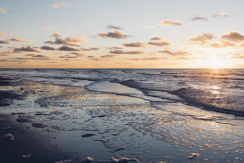 Denmark, North Jutland, tranquil beach at sunset - MJF02061