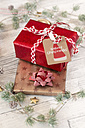 Christmas decoration and wrapped presents on wood - SARF02950