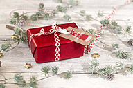 Christmas decoration and wrapped present on wood - SARF02953