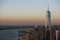 USA, New York, New York City, cityscape with World Trade Center and Hudson River - BCDF00189