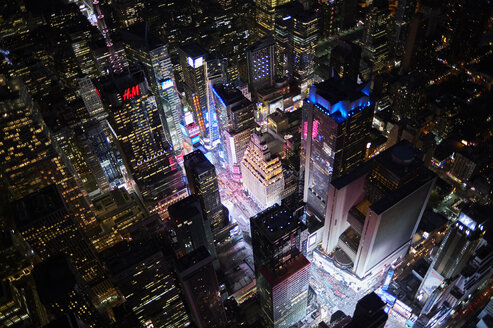 USA, New York, New York City, Aerial view of Times Square at night - BCD00213