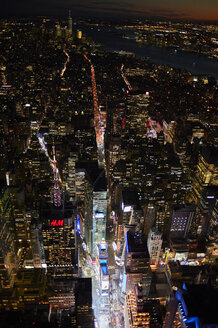 USA, New York, New York City, Aerial view of Times Square at night - BCD00216