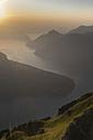 Switzerland, Canton Schwyz, Fronalpstock, View to Lake Lucerne at sunset - HLF00994