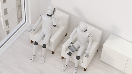Two robots sitting on armchairs with tablet and smartphone, 3D Rendering - AHUF00252