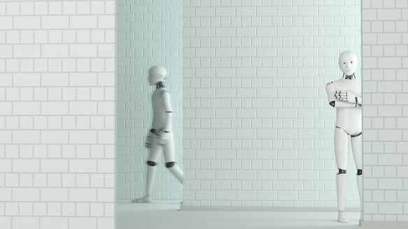Walking robot and standing robot, 3D Rendering - AHUF00255