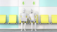 Two robots looking at laptop, 3D Rendering - AHUF00258