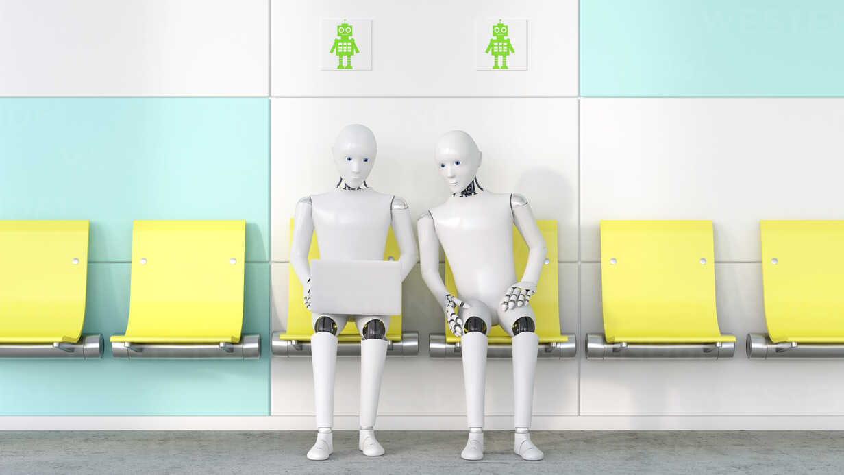 Two robots looking at laptop, 3D Rendering - AHUF00258 - Anna Huber/Westend61