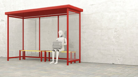 Robot with briefcase sitting at stop, 3D Rendering - AHUF00261